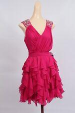 Fuschia Formal or Prom Dress Mini Size 9 AB Rhinestones Flouncy Skirt