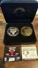 Highland Mint/Upper Deck Jordan Chicago Bulls Silver & Bronze Coins w/COA & Case
