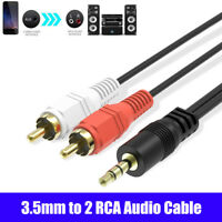 3.5mm to 2RCA Audio Cable Y Splitter Cord Wire for Sound Amplifier Home Theater.