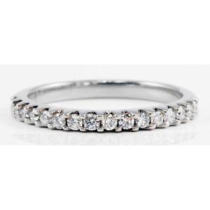 Palladium Round Brilliant Diamond Band Ring Wedding Anniversary.33 TCW G-H/SI