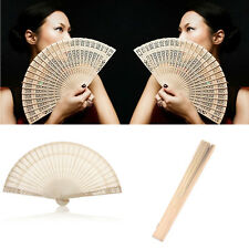 Vintage Hollow Carved Wooden Bamboo Chinese Folding Hand Fan Gift Party Acces