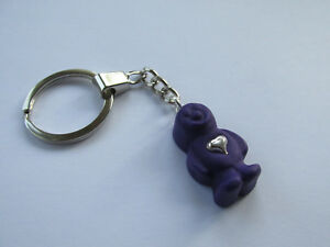 Handmade Miniature Purple Jelly Baby Sweet with a Silver Heart Charm Keyring