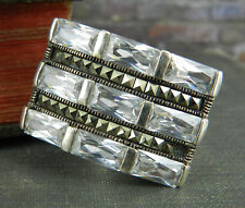 Thailand 925 Sterling Silver CZ Baguette & Marcasite Cocktail Ring