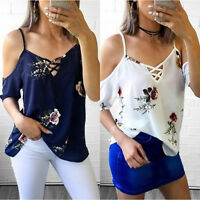 US Women Cold Shoulder T-Shirt Tops Short Sleeve Summer Floral Tee Shirts Blouse