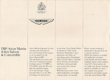 Aston Martin DB5 Vantage Specification & Prices 1964-65 UK Market Brochure