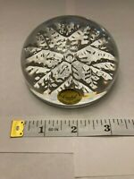 Vintage CRISTAL France Solid Glass 24% Lead Crystal Dome SNOWFLAKE PAPERWEIGHT