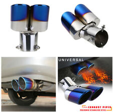 Universal Stainless Steel Round Car Exhaust Muffler Tip Dual Exhaust Pipe Blue