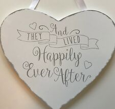 WHITE & GREY WOODEN HEART WEDDING DECORATION 'and they lived happily ever after'