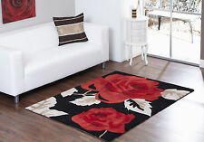 MEDIUM MODERN THICK PILE BLACK BRIGHT RED ROSE FLOWER ASPIRE ZAIRE RUG 120x170