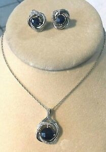 NEW STERLING SILVER 925co BLUE LAB SAPPHIRE NECKLACE EARRINGS SET Knot 3 piece