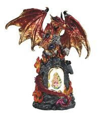 "11"" Led Red Dragon Statue Fantasy Sculpture Gothic Decor Figure"