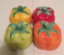 4 Piece Ceramic Bell Pepper Canister Set Storage Container Kitchen Home Decor