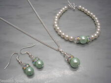Pearl Glass Chain Round Stone Costume Necklaces & Pendants