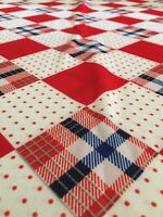 3 1/3 yds Vintage Fabric Polyester Red White BLue dots plaid check quilt  59""