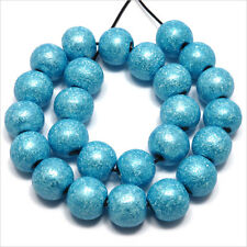 Lot de 40 perles rondes en Bois 10mm Bleu Turquoise