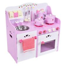 Kids Wood Pink Strawberry Pretend Cooking Kitchen Toy Play Set Toddler Boy Girl
