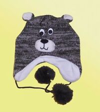 Warm Children Hat Hat with Ears & Face with Knitted Cap with Fleece Lining