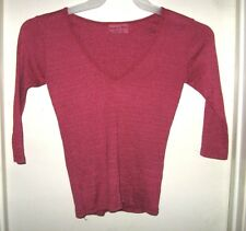 Michael Stars Pink Glittery V-Neck 3/4 Sleeve Top Shirt One Size Fits Most