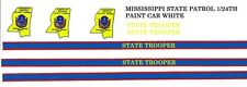MISSISSIPPI State Trooper Police 1/24th - 1/25th Waterslide Decals