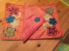 Pier 1 Imports Tangerine  with Floral Design Set of 4 Place Mats & Napkins