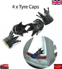 Negro corona de aleación coche Rueda neumático Neumático válvula Polvo Tapas Cubre Neumático Set De 4 Reino Unido