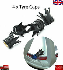 Negro Coche Rueda Neumático Neumático Válvula De Corona casquillos de polvo cubre Neumático Conjunto de 4 Reino Unido
