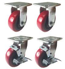4 Heavy Duty Caster Set 4 5 6 Polyurethane Wheels No Mark Non Skid Brake