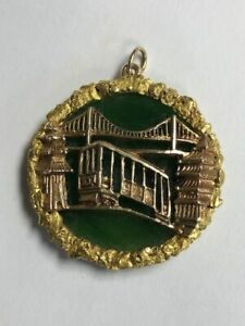 Vintage Jade 18K Yellow Gold San Francisco Pendant Charm