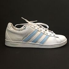 Unisex Adidas Derby White and Sky Blue Leather Lace Up Trainers UK 7.5 EU 41