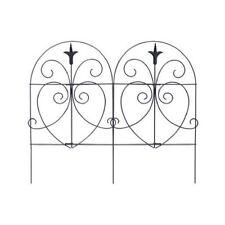 "Panacea 18"" x 8', Black, Romantic Style, Folding Garden Fence 89379"