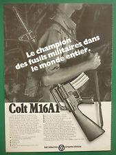 1976-77 PUB COLT FIREARMS COLT M16 A1 RIFLE FUSIL 5.56 MM ORIGINAL FRENCH AD