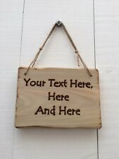 Rustic Driftwood Style Personalised Wooden Design Your Own Text Sign 20cm x 15cm