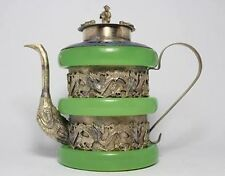 Details about  CHINESE TIBET SIVER HANDWORK DRAGON OLD GREEN JADE TEAPOT