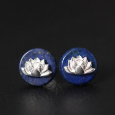 Natural Blue Lapis Lazuli Lotus Flower Stud Earrings Sterling Silver round
