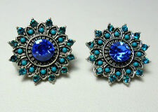 Glass Mixed Metals Clip - On Costume Earrings