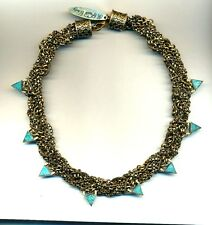 Vintage Signed A PEACE TREATY Woven Brass Necklace with Green Stone Accents