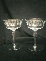 "Antique Champagne Coupes Crystal Flared Paneled 6 ""tall cut Glass set of 9"