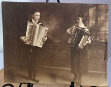 PAOLO SOPRANI Antique 1920's Photograph Couple Playing ACCORDIONS Laura Toniazzo