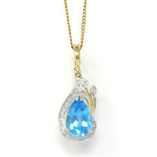 NYJEWEL New 14k Two Tone Gold Blue Topaz Diamond Pendant Necklace 15 Inch Gift