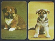 #915.317 Blank Back Swap Cards -MINT pair- Puppies on green & yellow backgrounds