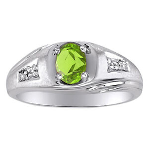 Sterling Silver or Yellow Gold Plated Silver Peridot & Diamond Ring