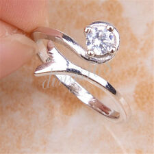 925 Sterling Silver Capricorn Zodiac Sign Crystal 5mm Open Ring Size 5-6.5 H1208