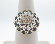 Natural Blue Sapphires Diamond Solid 14k Yellow Gold Ring with Silver Accents