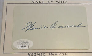 Baseball HOF Heinie Manush autograph with JSA certification