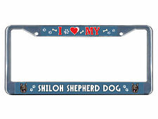 Shiloh Shepherd Dog Dog I heart Chrome Metal License Plate Frame Tag Border