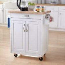 Kitchen Island Cart Rolling White Wood Top Storage Utility Cabinet Prep Table