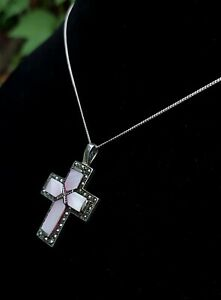 Vintage 925 Silver, Marcasite and Pink Mother of Pearl Crucifix Pendant Necklace