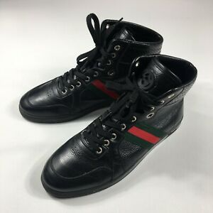 Men's GUCCI Sneakers Shoes Boots Leather Italy Black / Green / Red Size - 44