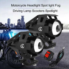 2pcs 6500LM Motorcycle Front Spot Lights LED Driving Headlight Fog Lamp + Switch