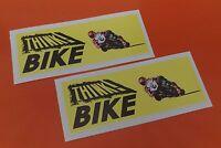 2 THINK BIKE STICKERS Warning VINYL DECALS 7-10 YEAR VINYL MOTORBIKE STICKER